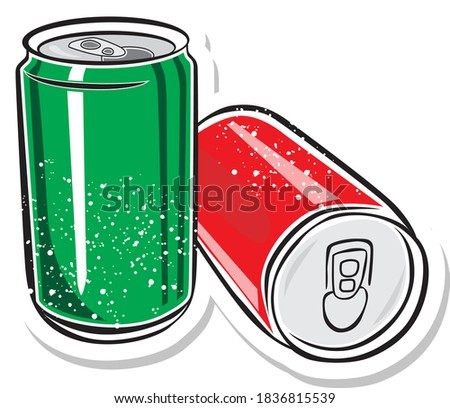 two red aluminum can  vector