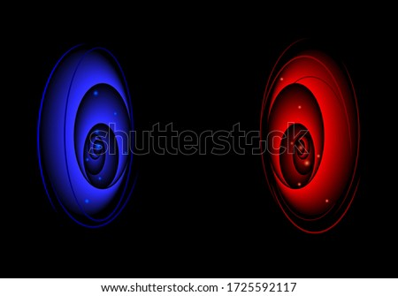 two red and blue magic portals