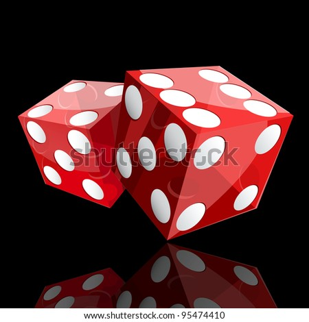 two red dice cubes on black background.