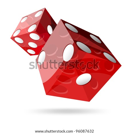 two red dice cubes on white