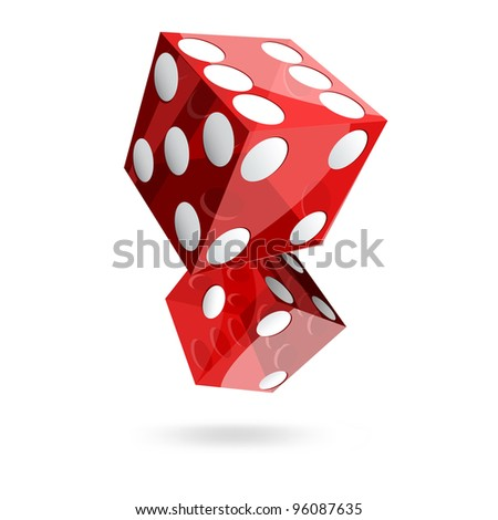 two red dice cubes on white background.