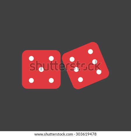two red dices simple flat style