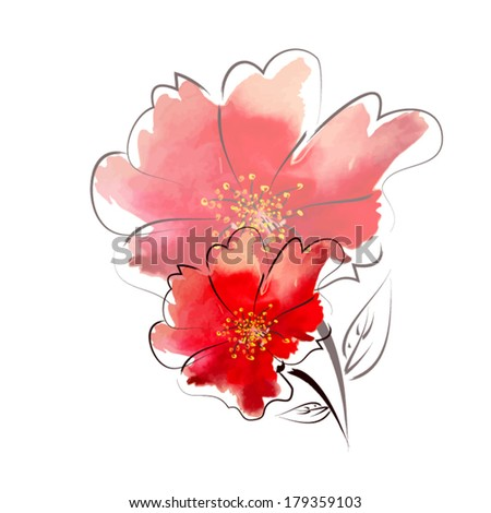 two red flower watercolor