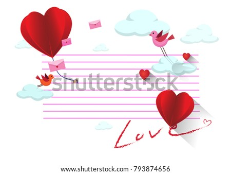 Two red hearts on letter paper,valentine concept,vector illustration #793874656