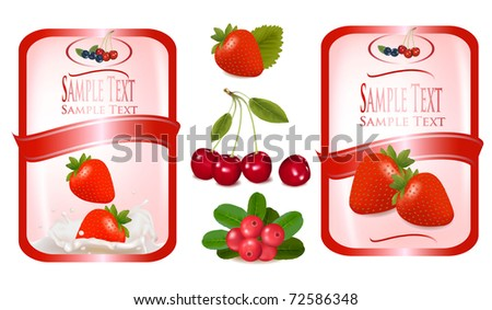 Two red labels with berries. Vector illustration.