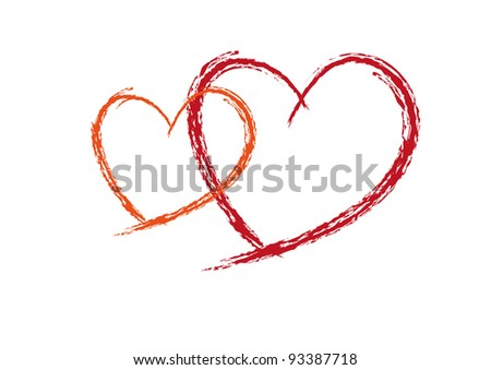 Two Red love heats symbol of Valentine day - stock vector