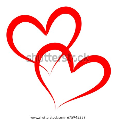 Two red outline vector hearts as illustration of friendship, romantic love and humanity.