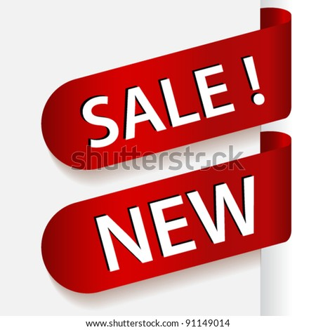 Two red ribbons or stickers with text sale and new