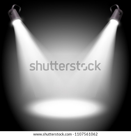 Two reflectors with headlight beams on white background - place for your text or object. Illustration.