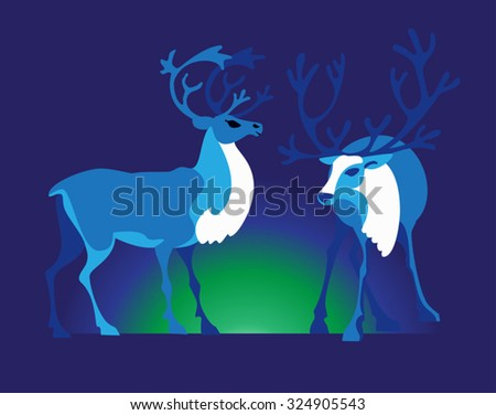 Two reindeers and bright Aurora in the tundra