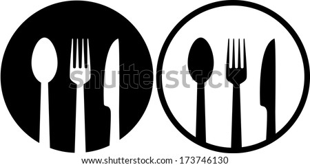 two restaurant sign with spoon, fork and knife