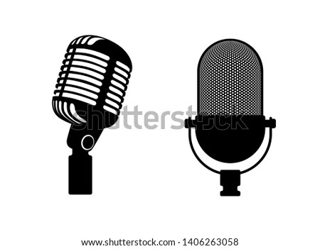 Two retro microphones sign. Silhouette microphone. Music icon, mic. Flat design vector illustration