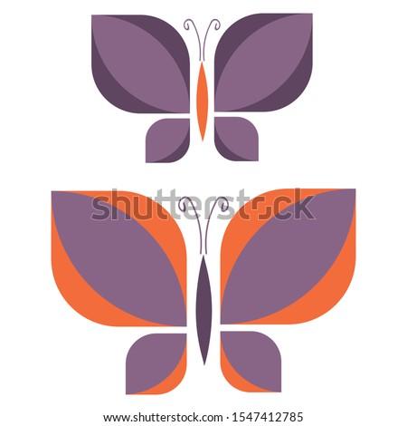 two retro purple geometric