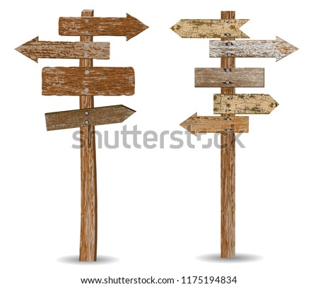 Two retro textured wooden signposts isolated on white background