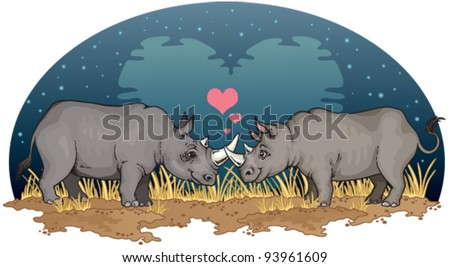 Two rhinos falling in love under a heart-shaped moon in Africa