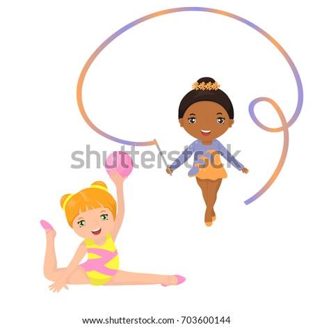 Two rhythmic gymnastics cute girls
