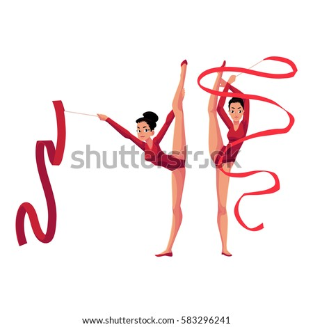 Two rhythmic gymnasts in leotards standing in vertical leg split, exercising with ribbon, cartoon vector illustration isolated on white background. Couple of rhythmic gymnasts exercising with ribbon
