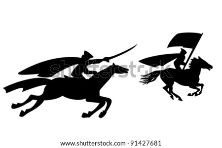 two riders silhouette on white background, vector illustration