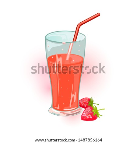 Two ripe strawberries and glass of red sweet juice with straw. Delicious summer beverage, berry drink in transparent cup. Cartoon vector icon isolated on white for menu, recipe, cookbook, packing.