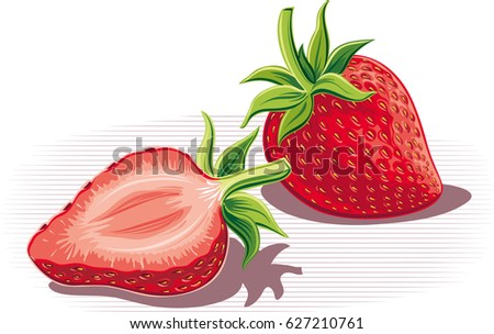 two ripe strawberries  one cut
