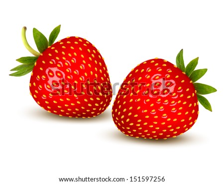 two ripe strawberries with