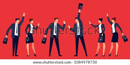 Two rival teams of businessmen. The quarrel of businessmen. Template banner design in a flat style with angry men and women in business suits. Fight. Vector illustration.