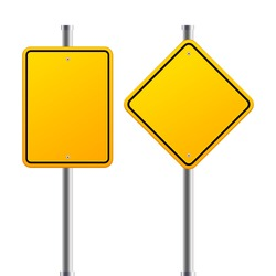 Two road orange blank signs on a pole on a white background