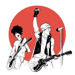 Two rockers with electric guitars in sketch style on red background. Vector illustration.