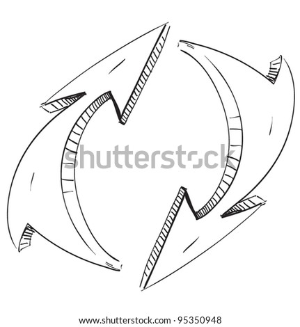 Two rounded arrows.Hand drawing sketch vector icon
