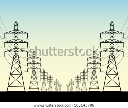 two rows of power line poles on