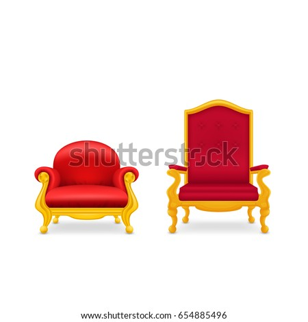 two royal armchairs of gold