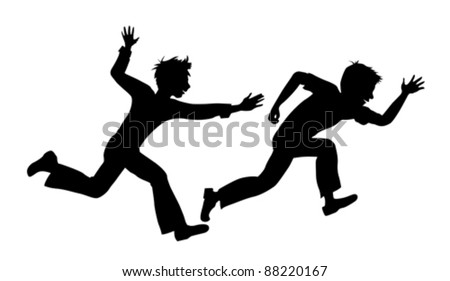 two running boy on white background vector