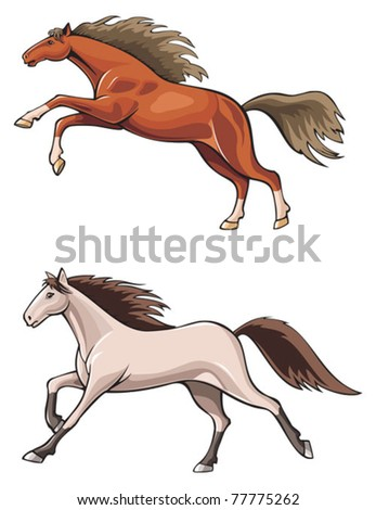 Two running horses, wild mustang, realistic vector illustration