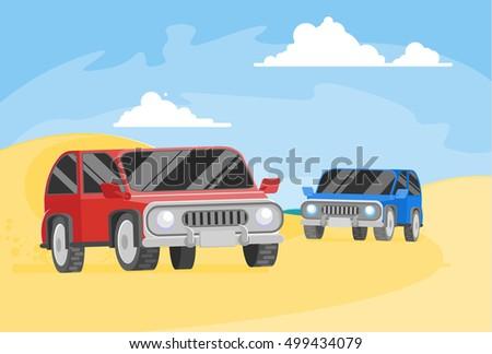 two safari automobiles bashing