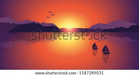 two sailboats on a lake at a