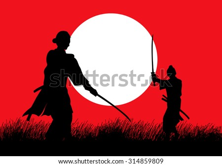 two samurai in duel stance
