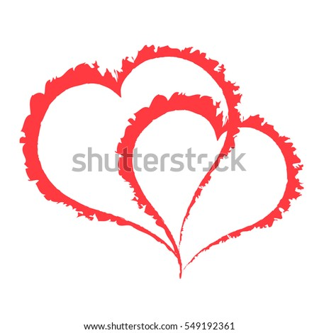two scarlet fat hearts on white