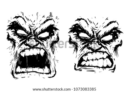 two scary faces rage fury