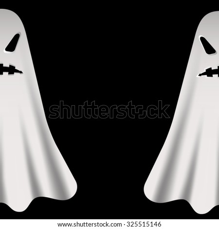 two scary halloween ghosts in