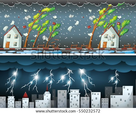 Two scenes with thunders and storms illustration