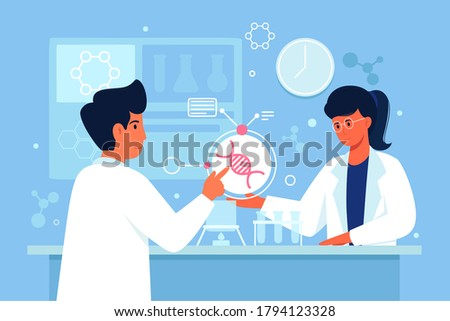 Two scientists working at laboratory. Man and woman experiment doing chemical experiment. Two lab assistants making scientific research. Scientists in white medical coats.Tubes, experiments. Vector.