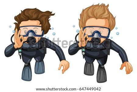 Two scuba divers with hand gesture illustration