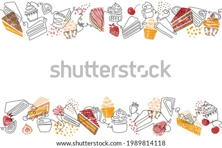 Two Seamless Pattern with Cakes, Cupcakes, Pie Slices and fruits. Background with Bakery Sweets. One line style. Can be yused like Banner, Flyer, Cover, Poster, Texture, Border.