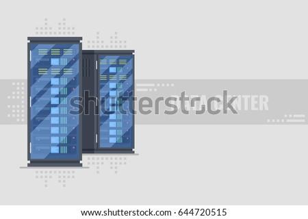 Two server rack with server equipmentinside. Server farm, data center horizontal banner concept on grey background