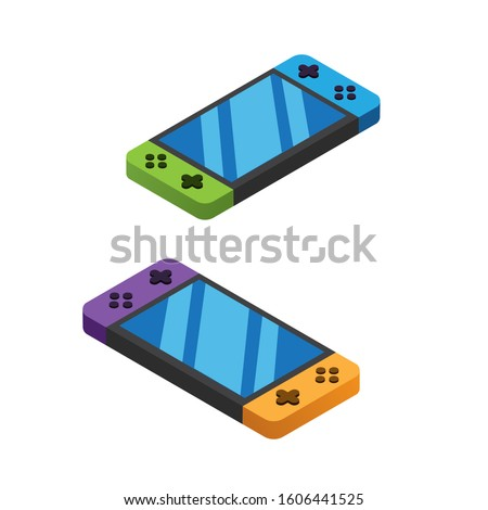 two set handheld, gadget, nintendo switch, portable gaming colorful case with white background illustration in isometric editable vector icon