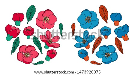 Two sets of hand drawn doodle ornamental quince flowers and leaves. Isolated vector illustration in realistic and non realistic colors