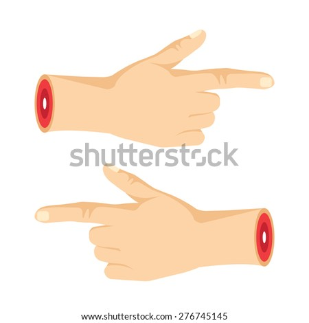 two severed pointng hands with