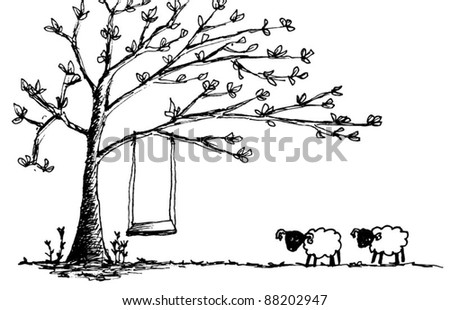 Frangipani Tree Drawing Two Sheep And Tree Drawing by