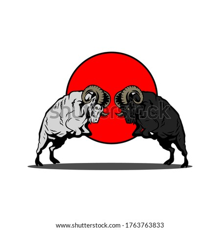 two sheep fight logo vector