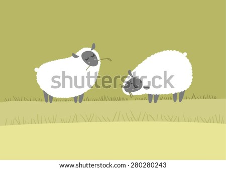 two sheep on the lawn  fluff to
